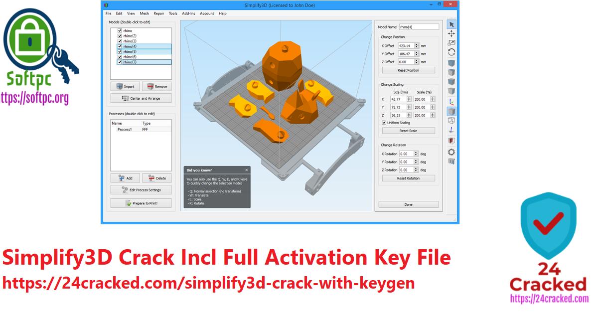 Simplify3D Crack Incl Full Activation Key File